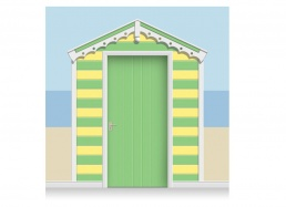 3-Drop Grass Green and Lemon Yellow Beach Hut Mural (257cm) + Door Print