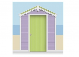 3-Drop Lavender and Leaf Green Hut Mural (257cm) + Door Print