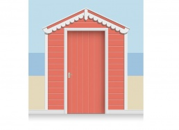 3-Drop Azalea Red Beach Hut Mural (257cm) + Door Print