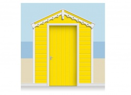3-Drop Banana Yellow Beach Hut Mural (257cm) + Door Print