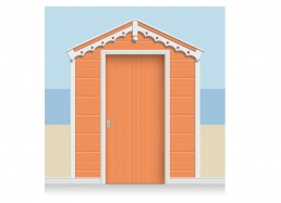 3-Drop Coral Red Beach Hut Mural (257cm) + Door Print