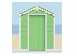 3-Drop Grass Green Beach Hut Mural (257cm) + Door Print