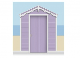 3-Drop Lavender Beach Hut Mural (257cm) + Door Print
