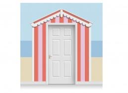 3-Drop Azalea and Rose Pink Beach Hut Mural (257cm)