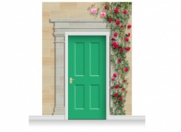 3-Drop Cambridge Door Set Mural (280cm) with Roses + Door Print