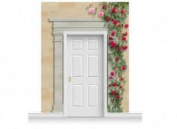 3-Drop Cambridge Door Set Mural (280cm) with Roses