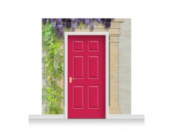 3-Drop Cardiff Door Set Mural (240cm) with Wistaria + Door Print