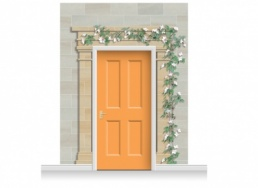 3-Drop Cardiff Door Set Mural (280cm) with Clematis + Door Print