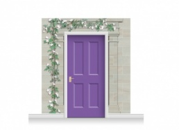 3-Drop Carlisle Door Set Mural (240cm) with Clematis + Door Print