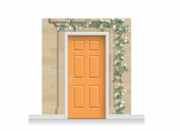 3-Drop Dartford Door Set Mural (240cm) with Clematis + Door Print