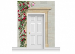 3-Drop Dorchester Door Set Mural (280cm) with Roses