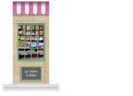1-Drop Blackburn Shop Front 'Sweet Shop' Mural (280cm)