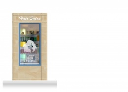 1-Drop Cheltenham Shop Front 'Hair Salon' Mural (240cm)