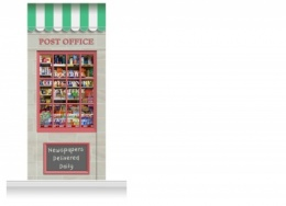1-Drop Colchester Shop Front 'Post Office & Shop' Mural (280cm)