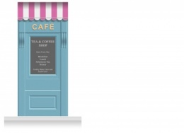1-Drop Leamington Shop Front 'Café' Mural (280cm)