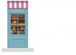 1-Drop Leamington Shop Front 'Bakery' Mural (280cm)