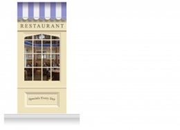 1-Drop Skipton Shop Front 'Restaurant' Mural (280cm)
