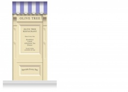 1-Drop Skipton Shop Front 'Olive Tree Restaurant' Mural (280cm)