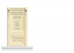 1-Drop Skipton Shop Front 'Olive Tree Restaurant' Mural (240cm)