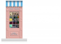 1-Drop Stamford Shop Front 'Hair Salon' Mural (280cm)