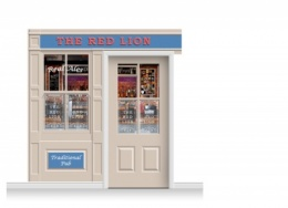 2-Drop Durham Shop Front 'Red Lion Pub' Mural (240cm) + Door Print