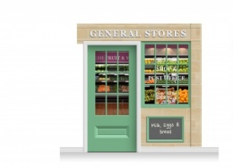 2-Drop Blackburn Shop Front 'General Stores' Mural (240cm) + Door Print