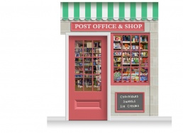 2-Drop Colchester Shop Front 'Post Office & Shop' Mural (280cm) + Door Print