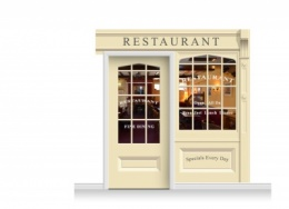 2-Drop Skipton Shop Front 'Restaurant' Mural (240cm) + Door Print