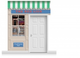 2-Drop Durham Shop Front 'Red Lion Pub' Mural (280cm)