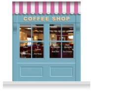 2-Drop Leamington Shop Front 'Coffee Shop' Mural (280cm)