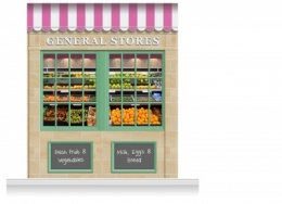 2-Drop Blackburn Shop Front 'General Stores' Mural (280cm)