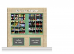 2-Drop Blackburn Shop Front 'Sweet Shop' Mural (240cm)