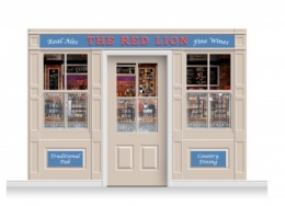 3-Drop Durham Shop Front 'Red Lion Pub' Mural (240cm) + Door Print