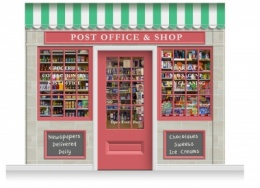 3-Drop Colchester Shop Front 'Post Office & Shop' Mural (280cm) + Door Print