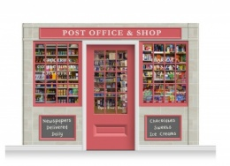 3-Drop Colchester Shop Front 'Post Office & Shop' Mural (240cm) + Door Print