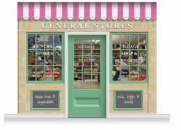 3-Drop Blackburn Shop Front 'General Stores' Mural (280cm) + Door Print