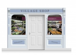 3-Drop Taunton Shop Front 'Village Shop' Mural (240cm)