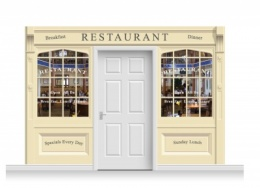 3-Drop Skipton Shop Front 'Restaurant' Mural (240cm)