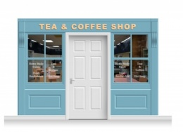 3-Drop Leamington Shop Front 'Tea & Coffee Shop' Mural (240cm)