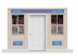 3-Drop Durham Shop Front 'Red Lion Pub' Mural (240cm)