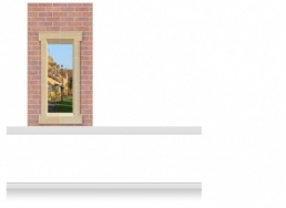 1-Drop (100cm) Window Frame Mural - Cotswolds Village (190cm)