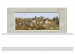 3-Drop Window Opening Mural - Cotswolds Village (150cm)