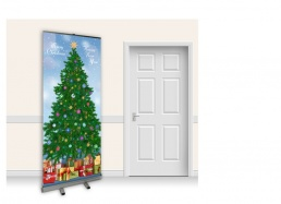 Pop-Up Roller Banner - Christmas Tree with Sky
