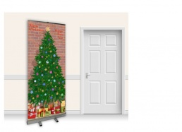 Pop-Up Roller Banner - Christmas Tree with Brick Wall