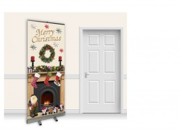 Pop-Up Roller Banner - Christmas Fireplace with Magnolia Wall