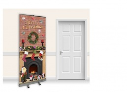 Pop-Up Roller Banner - Christmas Fireplace with Brick Wall