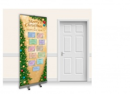 Pop-Up Roller Banner - Christmas Carols with Gold Background